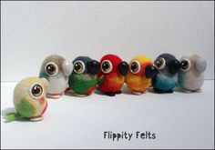 Adorable kawaii needle-felted conures hand made in a variety of colour mutations - sun, pineapple, turquoise, mint and more by FlippityFelts on Etsy https://www.etsy.com/uk/listing/535379364/adorable-kawaii-needle-felted-conures