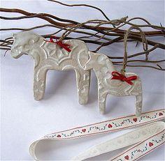Ceramic Dala Horses. So cute!