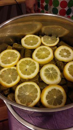 cocción final de las hojas de parra rellenas
