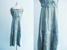 Edwardian Ball Gowns | 1910s Edwardian Silk Embroidered Dress