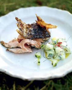 Jamie Oliver's crispy barbecued side of salmon with cucumber yogurt