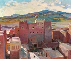 Jacques Majorelle (French, 1886-1962) Town Toundout, N/D Oil on hardboard, 72.50 x 86.50 cm via VISION