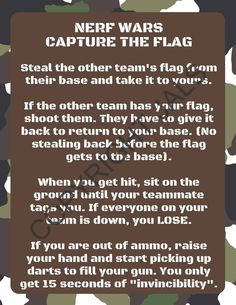 Nerf Wars Capture the Flag Game Rules Printout Nerf Party Nerf Birthday Party, Nerf Party, Boy Birthday, Birthday Ideas, Race Party, 12th Birthday, Flag Rules, Nerf Gun Games, Games