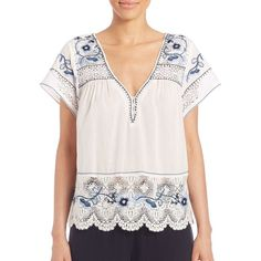 Calypso St. Barth Kerala Embroidered Short-Sleeve Top ($150) ❤ liked on Polyvore featuring tops, blouses, apparel & accessories, short sleeve cotton blouses, short sleeve blouse, short sleeve cotton tops, deep v neck blouse and deep v neck top