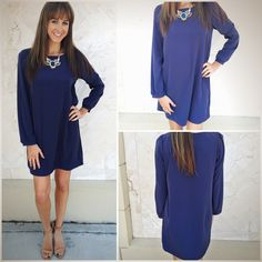 """Day to night this perfect shift dress will never disappoint!!! """"Classic Navy Shift Dress"""" ($34.99-in store at S&T) and """"Royal Jewels Necklace"""" ($28.99-in store at Tria) both now available online at www.sophieandtrey.com with FREE SHIPPING! #sophieandtrey #newarrivals #shiftdress #freeshipping #statementnecklace"""