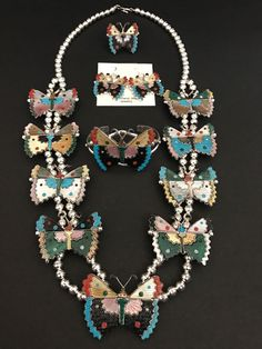 Zuni Native American Sterling Silver Inlay Butterfly Squash Blossom Necklace T.P
