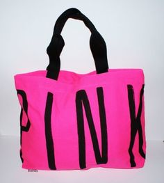 NWT VICTORIA'S SECRET LOVE PINK LOGO BLACK BAG TRAVEL CANVAS TOTE ...