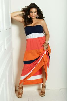 LOVE the hot coral color mixed with trendy black and white! Strapless maxi dress for ultimate comfort.