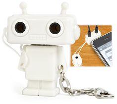 Cool Robot Design Audio Headset Splitter with Keychain,Robot earphone jack splitter 3.5mm Male to 2 x Female Splitterbot Adapter