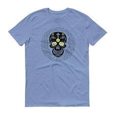 Colorful Skull Flower Hippy Trippy Design Trendy Flashy Retro