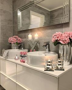 I think if there is so much noise outside the bathroom, it seems very quiet and peaceful . - Xadia Cashif - Badezimmer - Home Sweet Home Dream Bathrooms, Beautiful Bathrooms, Small Bathroom, Silver Bathroom, Pink Bathroom Decor, Elegant Bathroom Decor, Bathroom Candles, Bathroom Mirrors, Bathroom Inspo