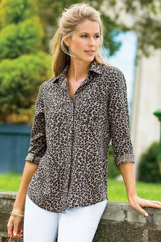 Prowling for the perfect leopard print shirt? Here it is in terrific Tencel® Lyocell, detailed with a hidden button closure. Shop our Spot-on Shirt for a fun top that will take you right into early fall.