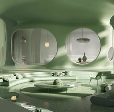❄️🌿 So fresh - a minty green paradise via Futuristic Interior, Futuristic Architecture, Interior Architecture, Organic Architecture, Retro Futuristic, Futuristic Houses, Futuristic Bedroom, Rendering Architecture, French Architecture