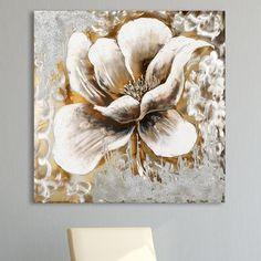 Flowers Original Painting Vintage Boulevard Size: 100 cm H x 100 cm W Modern Art Paintings, Beautiful Paintings, Original Paintings, Flower Canvas, Flower Art, Home Flowers, Leaf Art, Stone Painting, Painting Prints