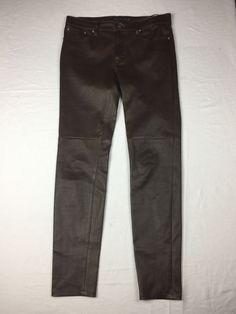 Ralph Lauren Lamb Leather Black Label Brown Skinny Pants Size 6 #RalphLaurenBlackLabel #CasualPants
