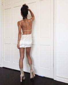 Get the dress - Wheretoget Backless Prom Dresses, Sexy Dresses, Cute Fashion, Fashion Outfits, Womens Fashion, Fashion Beauty, White Summer Outfits, Nude Boots, Satin Mini Dress