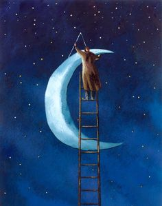 I love the idea of an arbitrarily hanging moon as the one piece of scenery besides stairs.