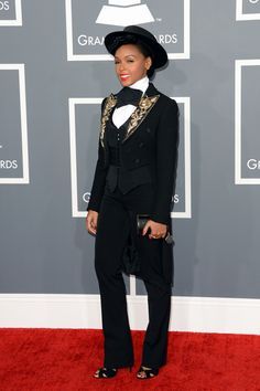 The always polished and smoking Janelle Monae    Fashion At The 2013 Grammy Awards