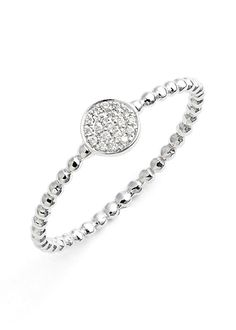 silver diamond pavé circle ring