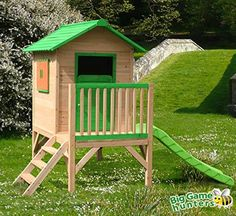 Chestnut Tower Wooden Playhouse with Slide - Childrens Painted Garden Wendy Play House on Stilts, http://www.amazon.co.uk/dp/B00CDGQJRC/ref=cm_sw_r_pi_awdl_XN2qxb6814ZNB