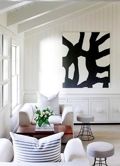 add edge to a beachy home with bold art.