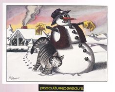 B. KLIBAN (Bernard) CATS ART POSTCARD Kitty with snowman winter | eBay