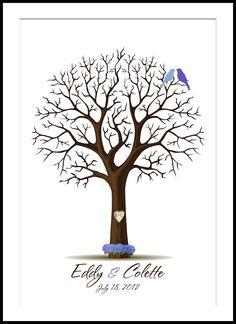 Personalizada huella boda árbol Guestbook con hortensias y tortolitos medio hasta 100 huellas digitales.