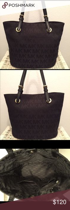 Michael Kors Black Tote Nice black Michael Kors tote that is practically like new. It has only been used 3 times and there are no stains. This handbag has a small pocket in front, one zipper pocket and four pockets inside. Has some threads poking out however, they are not noticeable as you can see in the pictures. Very nice everyday tote that has plenty of room to accommodate your needs. Michael Kors Bags Totes