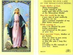 """DE WONDERDADIGE MEDAILLE:  (27 november ) - Dank, dat Gij uw speciale bijstand en bescherming beloofd hebt aan allen die deze medaille dragen en met vertrouwen dat mooie gebed bidden: """"O MARIA, ZONDER ZONDE ONTVANGEN, BID VOOR ONS DIE ONZE TOEVLUCHT TOT U NEMEN"""""""