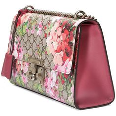Gucci Padlock Blooms Shoulder Bag (7.680 RON) ❤ liked on Polyvore featuring  bags, handbags, shoulder bags, gucci purse, floral leather handbags, ... dcef0ef132