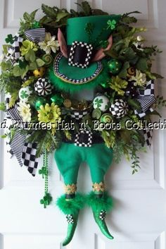St Patricks Day Wreath Leprechaun Wreath-Petals & Plumes- Hat n' Boots Collection© 2011