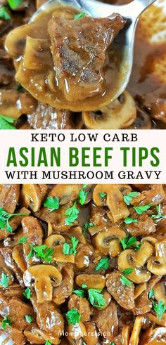 Beef Tips, Beef Recipes, Vegan Recipes, Beef With Mushroom, Mushroom Gravy, Keto Mushrooms, Stuffed Mushrooms, Good Healthy Recipes, Eat Healthy