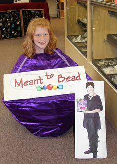 """I took my picture with Flat Cathy while I was wearing a bead costume because I love this store. It was their 8th anniversary."" -Meant to Bead"