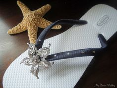 655132630e9013 Champagne- Ivory Peacock Feathers Flip Flops with SWAROVSKI Crystals and  See Star Fish Rhinestone -MUST HAVE Collection. Etsy. Items similar to  Starfish ...
