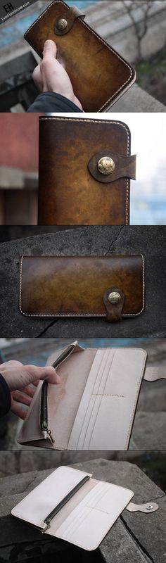 Handmade biker leather wallet vintage tan motorcycle leather long wall   EverHandmade