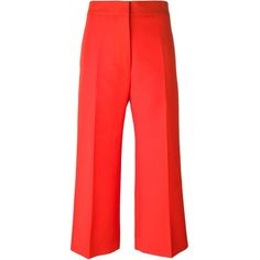 Marni cropped trousers ($295) ❤ liked on Polyvore featuring pants, capris, red, red pants, cropped pants, high waisted wide leg trousers, high waisted pants and high waisted wide leg pants