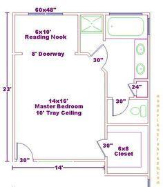 14x16 Master Bedroom Floor Plan With Bath And Walk In Closet Suite