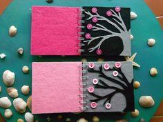 Cuadernos decorados con fieltro. Una excelente idea para hacer el tuyo. Siempre va bien tener un cuaderno para los pequeños apuntes del día a día.