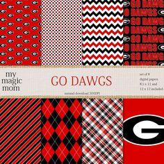 UGA Go Dawgs Black Red White Digital Scrapbook Paper by MyMagicMom