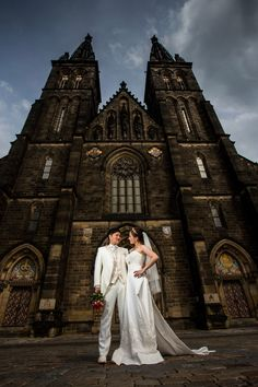 #wedding couple in front of #vysehrad cathedral in #prague