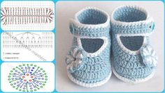 25 New Ideas For Crochet Baby Girl Layette Projects Crochet Baby Sandals, Crochet Baby Shoes, Crochet Baby Booties, Crochet Slippers, Baby Boots, Baby Girl Shoes, Baby Patterns, Crochet Patterns, Diy Bebe