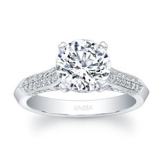 Uneek Round Diamond Solitaire Engagement Ring with Four-Sided Micropave Upper Shank and Milgrain Edging, in 14K White Gold