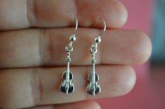 925 Sterling Silver Music & Instrument Violin Earrings - Dangle Violin Earrings