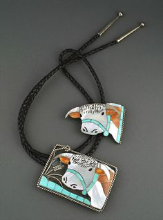 Silver & Inlay Bolo & Buckle Set by Helen & Lincoln Zunie (Zuni)