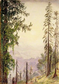 Marianne North, Sunrise among the Pines near Fagoo in the Himalayas (c.1878)