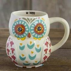 Having coffee out of an owl mug, hoo couldnt be happy!