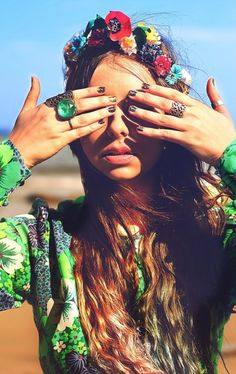 Pretty gypsy rings with modern hippie flower headband for a sweet boho chic look. For MORE Bohemian fashion trends FOLLOW http://www.pinterest.com/happygolicky/the-best-boho-chic-fashion-bohemian-jewelry-gypsy-/ now