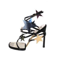 New YSL Yves Saint Laurent Blk Patent Hero 105 Sandals