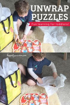 Unwrapping Puzzles: An Irresistibly Fun Toddler Activity - Happily Ever Mom Activities For One Year Olds, Outdoor Activities For Toddlers, Toddler Learning Activities, Creative Activities, Fun Learning, Baby Sensory Play, Playdough Activities, Toddler Classroom, Toddler Stuff