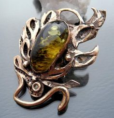 Bronze Brooch With Amber And Zircon - product images  of SCHJ